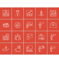 Business sketch icon set vector image