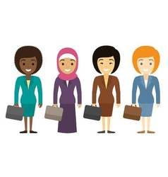 Businesswomen characters of different ethnicity in vector image