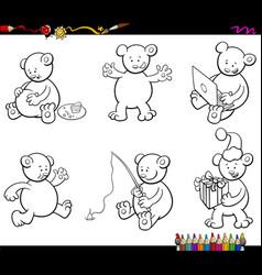 Cartoon bear characters set coloring book vector