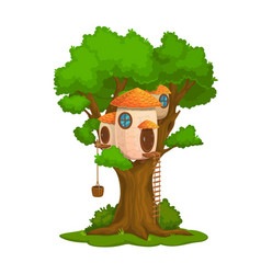 Cartoon fairy house dwelling on oak tree vector