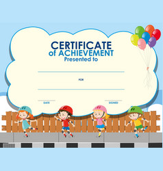 Certificate template with kids skating vector