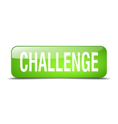 Challenge green square 3d realistic isolated web vector