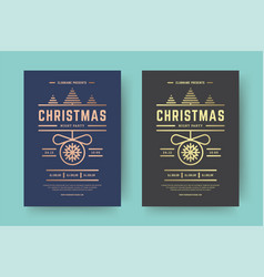 christmas party flyer event modern typography and vector image