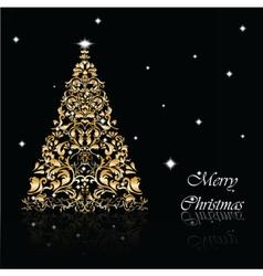 Christmas Tree set in goldon black vector