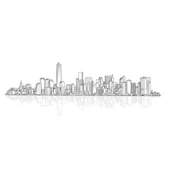 city panoramic skyline view architectural vector image
