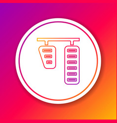 color line car gas and brake pedals icon isolated vector image