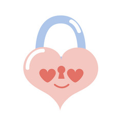 Colorful heart padlock in love kawaii personage vector