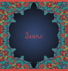 Colorful oriental style frame persian arabian vector