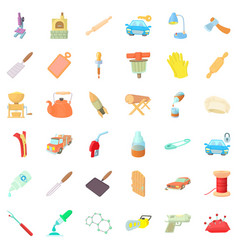 Craft production icons set cartoon style vector