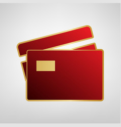 Credit card sign red icon on gold sticker vector