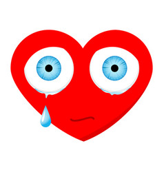 Crying sad heart face with eyes and drop vector