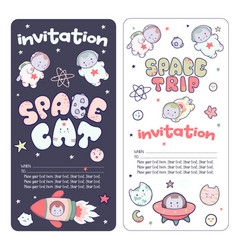 Cute space flyer invitation banner template vector
