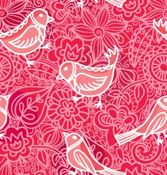 decorative seamless with flowers and birds vector image