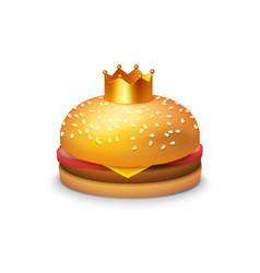 Delicious burger with crown vector