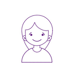 Doted shape avatar girl with blouse and hairstyle vector