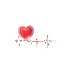 electrocardiogram and heart sign graphic vector image