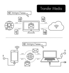 electronic device send more file to other device vector image