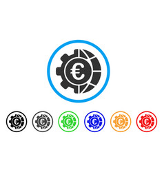 euro global industry rounded icon vector image