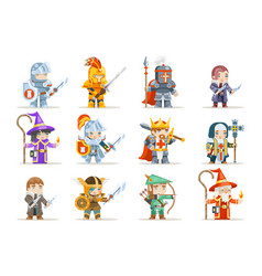Fantasy set rpg game heroes character icons vector
