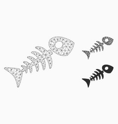 Fish skeleton mesh wire frame model and vector