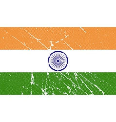 Flag of India with old texture vector image
