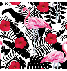 Flamingo hibiscus tropical background seamless vector