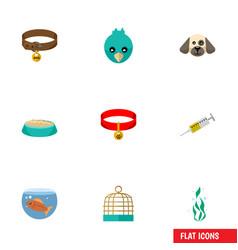 flat icon pets set of bird prison vaccine vector image
