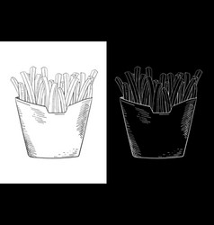 french fries hand drawn sketch vector image