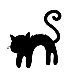 Frightened cat arch back silhouette screaming vector