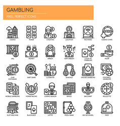 Gambling elements thin line and pixel perfect vector
