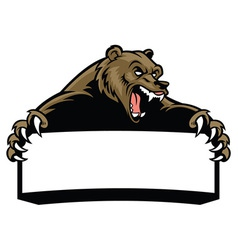 Grizzly bear hold blank sign vector