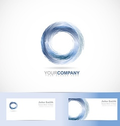 Grunge 3d circle blue logo vector image