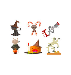 halloween icons set black cat in a witch hat vector image