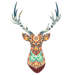 Hand drawn horned deer with high details vector
