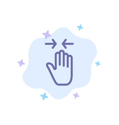Hand gesture pinch arrow zoom in blue icon on vector