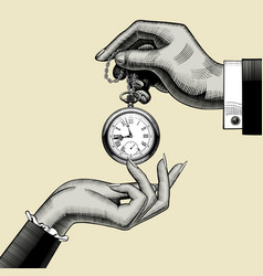 Hands of man and woman with a retro pocket watch vector