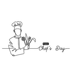 Happy chefs day simple web banner border vector