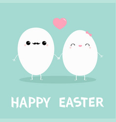 happy easter egg couple family kawaii face love vector image
