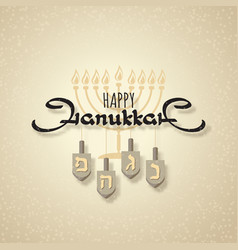 happy hanukkah handwritten word hanukkah menorah vector image