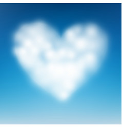 heart shaped cloud in the blue sky eps 10 vector image