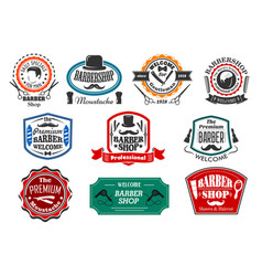 Icons for premium barber shop salon vector