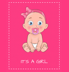 Its a girl poster dedicated to baby shower day vector