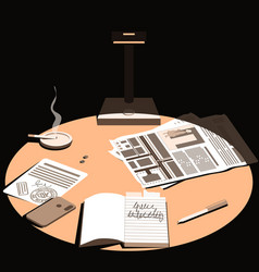 Late in evening a lamp falls on desktop vector