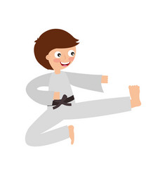 little boy karateka icon vector image