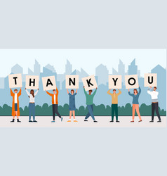 male and female characters holding thank you sign vector image