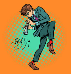 man playing folk wind instrument vector image