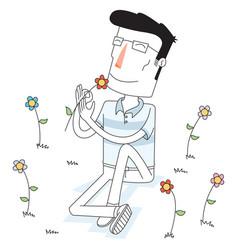 man smells a flower at flower garden vector image