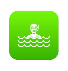 man with scuba icon digital green vector image