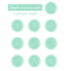 Manicure icons highlights stories covers for vector