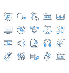 Music line icons set acoustic guitar musical vector